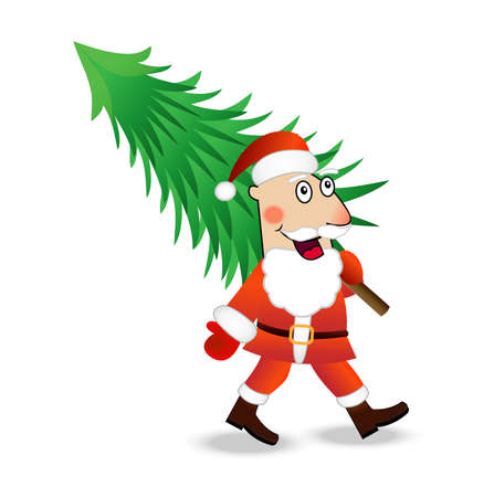 carries: Santa claus carries a green christmas tree,  vector  illustration