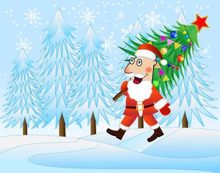 carries: Babbo Natale porta il albero di Natale decorato, illustrazione vettoriale