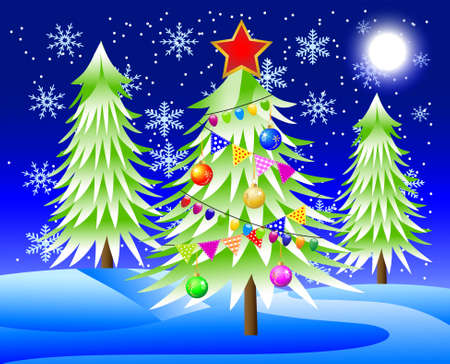 there is the decorated christmas tree in-field,  vector  illustration Vector
