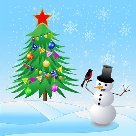 snow man: decorated christmas tree and snow man with a bullfinch,  vector  illustration