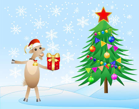 hubcap: decorated christmas tree and goat with a gift,  vector  illustration Illustration