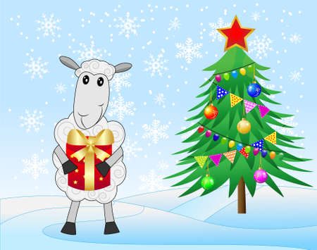 hubcap: decorated christmas tree and sheep with a gift,  vector  illustration Illustration