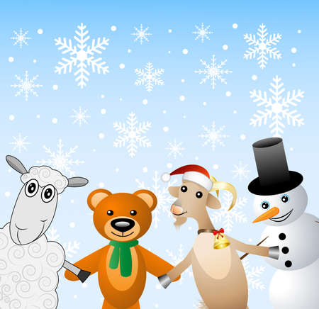 snow man: snow man with beasts on a festive background,  vector  illustration