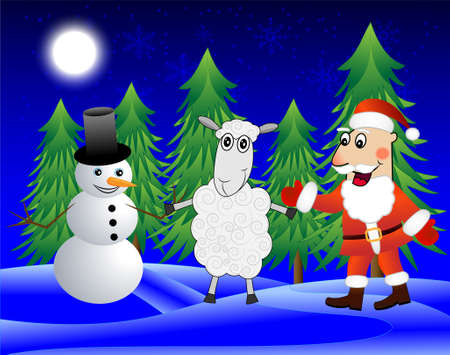 snow man: Santa claus, sheep and snow man  in the winter forest,  vector  illustration