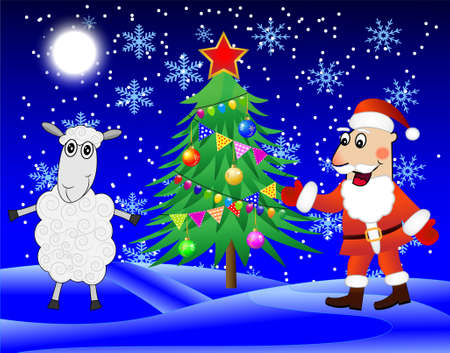 hubcap: Santa claus, sheep and christmas tree  in the winter forest,  vector  illustration