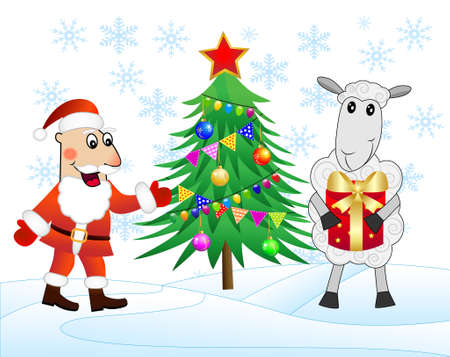 fur coat: Santa claus, sheep and christmas tree ,  vector  illustration Illustration