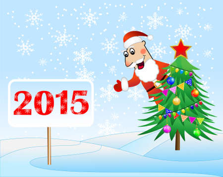 fur coat: Santa claus, christmas tree and banner with numbers 2015 year,  vector  illustration