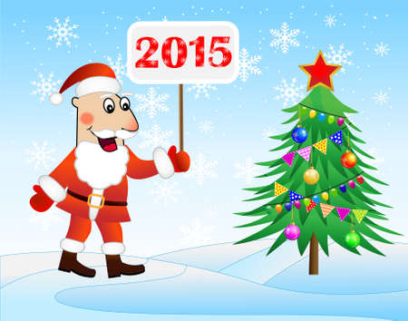 hubcap: Santa claus, christmas tree and banner with numbers 2015 year,  vector  illustration