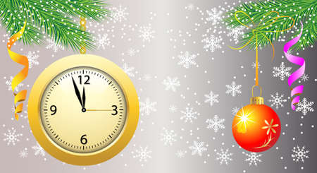 background with a clock, festive ball and green branches,vector illustration Vector