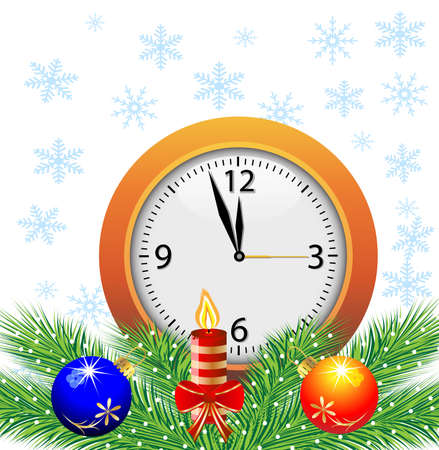 festive postal with a clock, candle and green branches with toys,vector illustration Vector