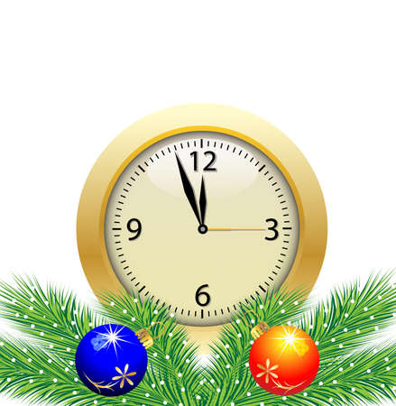 festive postal with a clock and green branches with toys,vector illustration Vector