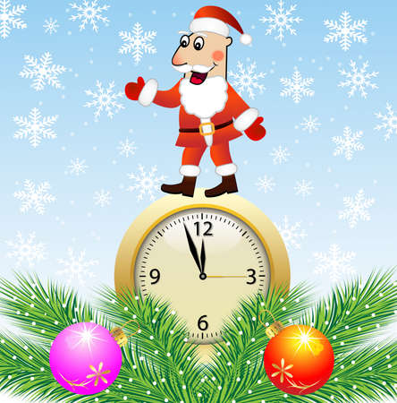 Santa claus, clock and green branches with toys,vector illustration Vector