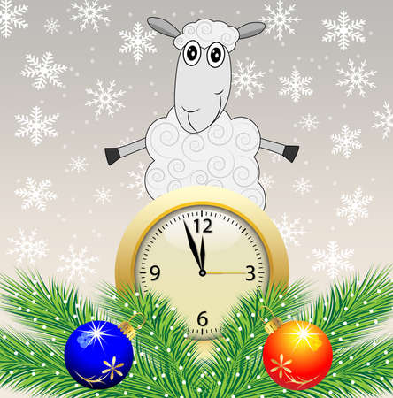 sheep, clock and green branches with toys,vector illustration Vector