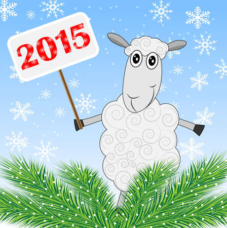 sheep holds a banner with numbers 2015 and green branches of christmas tree,vector illustration Vector