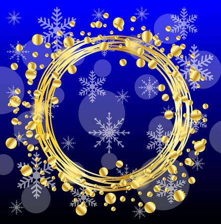 spangles: christmas background with gold spangles and snowflakes,  vector  illustration Illustration