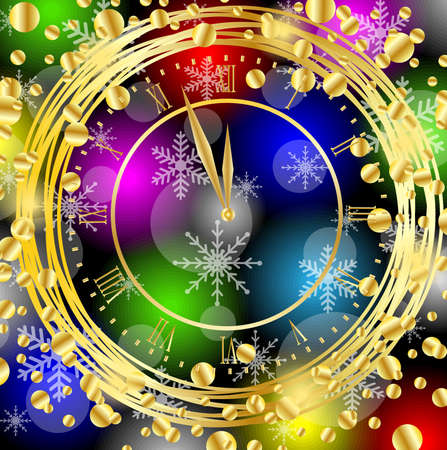 spangles: clock on a bright christmas background with gold spangles,  vector  illustration