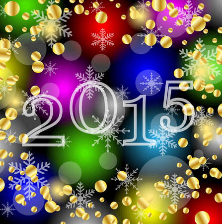 spangles: numbers 2015 year on a bright background with gold spangles,  vector  illustration Illustration