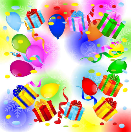 gifts and air marbles on a bright christmas background,  vector  illustration Vector