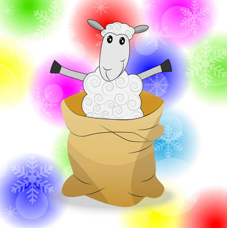 sheep in a sack on a bright christmas background,  vector  illustration Vector