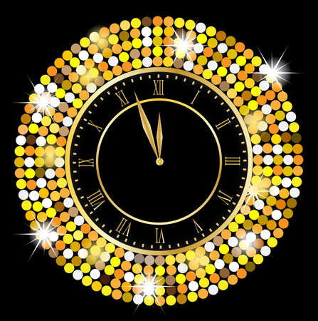 spangles: clock on a black background with gold spangles,  vector  illustration