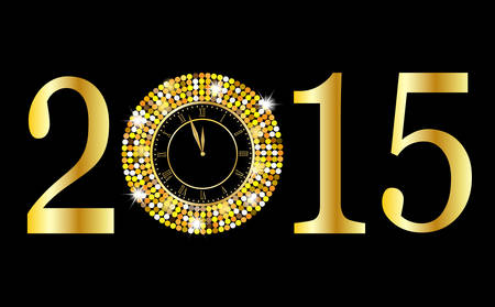 spangles: clock and numbers 2015 year on a black background with gold spangles,  vector  illustration