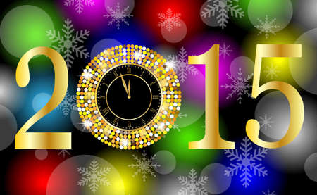 spangles: clock and numbers 2015 year on a bright background with gold spangles,  vector  illustration