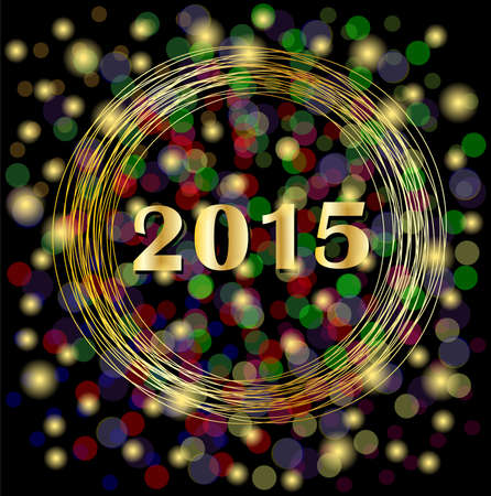 spangles: numbers 2015 year on a black background with gold spangles,  vector  illustration