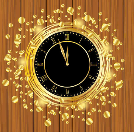 spangles: clock on a wooden background with gold spangles,  vector  illustration