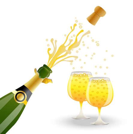 bouteille ouverte et deux verres de champagne