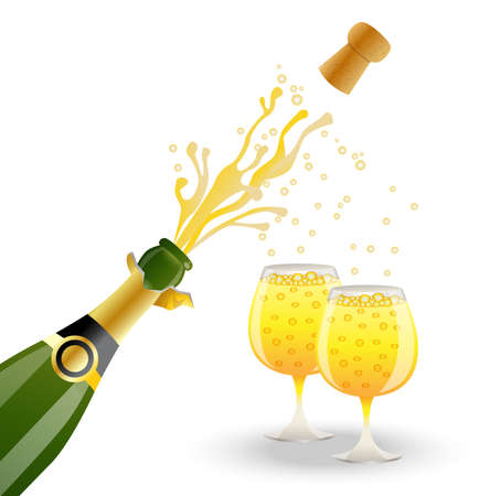 open fles en twee glazen met champagne