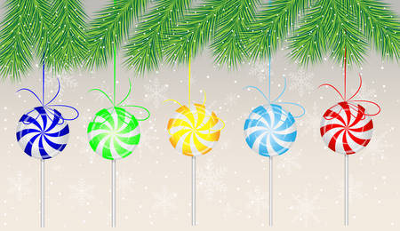 deliciously: candies lollipops hang on the branches of christmas tree