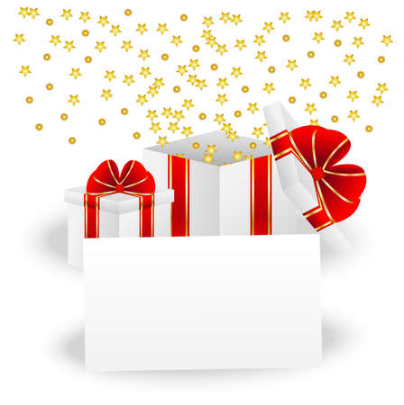 gift boxes and sheet of paper with a mestome for text Vector