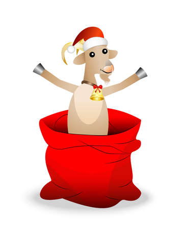 hubcap: merry goat in a sack on a white background