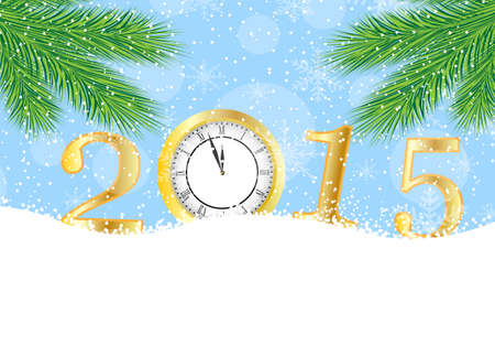 pine needle: clock and numbers 2015 on to snow,  vector  illustration Illustration