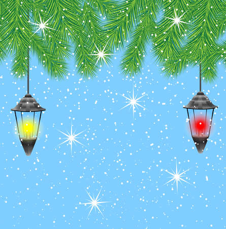 pine needle: lanterns hang on the branches of tree,  vector  illustration