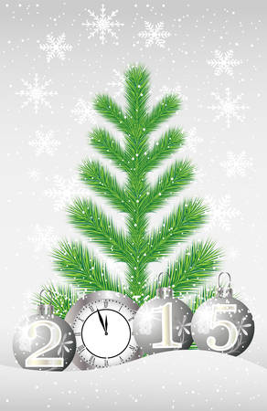 snowdrift: green tree, clock and marbles with numbers 2015 on to snow,  vector illustration