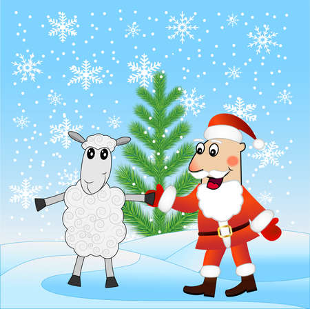 firtree: Santa claus and sheep near a fir-tree,  vector  illustration