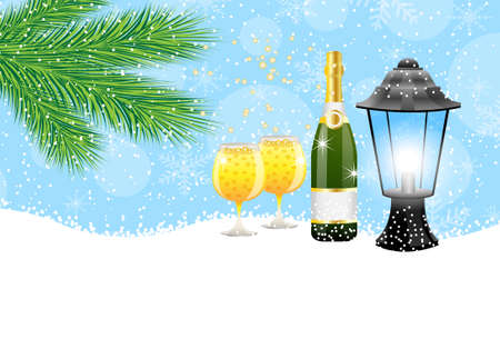 pine needle: lantern and champagne with the branches of fir-tree on to snow,  vector  illustration Illustration