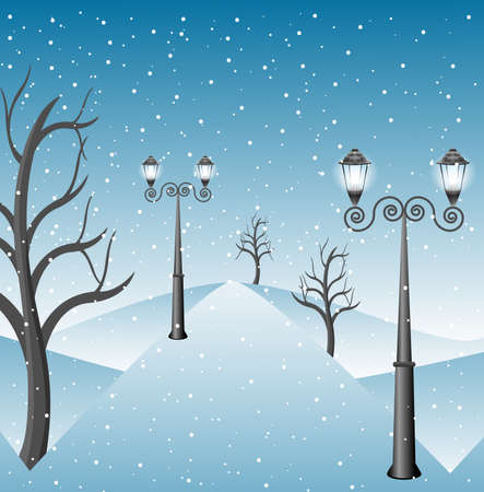 winter landscape in a park with lanterns,  vector  illustration