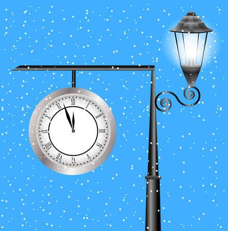 sky lantern: l'horloge et la lanterne sur un post sur un fond de ciel, illustration vectorielle