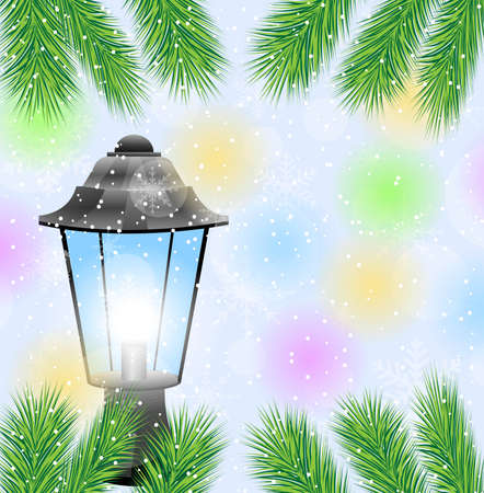 pine needle: lantern and branches of tree on a christmas background,  vector  illustration Illustration