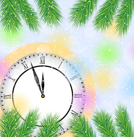 pine needle: clock and branches of tree on a christmas background,  vector  illustration