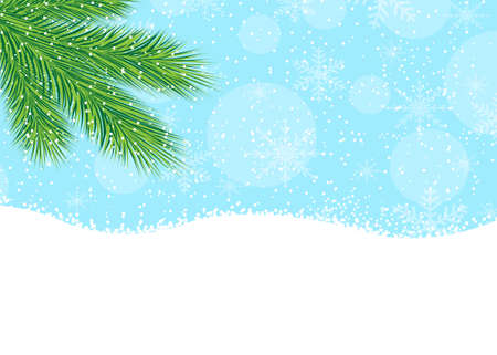 pine needle: branch of fir-tree, blue sky and snow,  vector  illustration Illustration