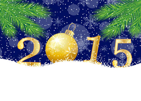 pine needle: numbers 2015 on to snow,  vector  illustration