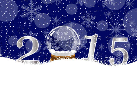 glass ball and numbers 2015 on to snow,  vector  illustration Stock Illustratie