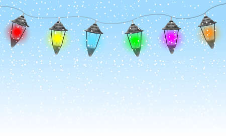 varicoloured: guirnalda festiva con linternas varicoloured, ilustraci�n vectorial