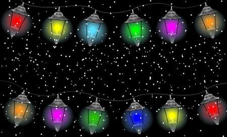 varicoloured: festive garland with varicoloured lanterns, vector  illustration