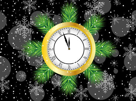 pine needle: clock with the branches of christmas tree,vector illustration