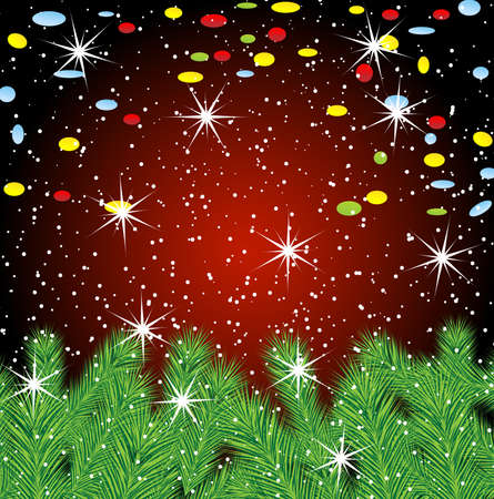 festive christmas background with green branches, vector  illustration