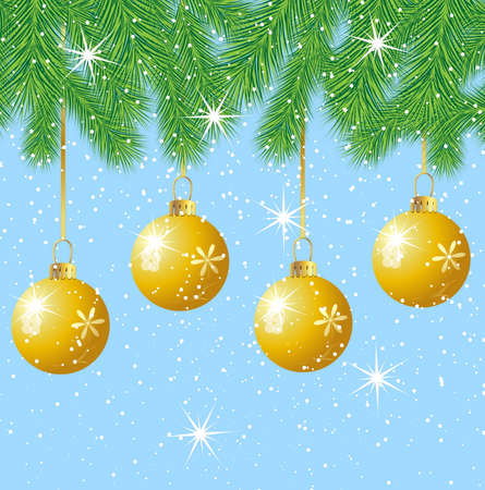 pine needle: festive marbles hang on the branches of tree,  vector  illustration